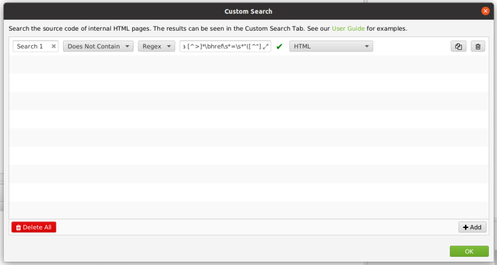 Custom REGEX search settings for Screaming Frog.